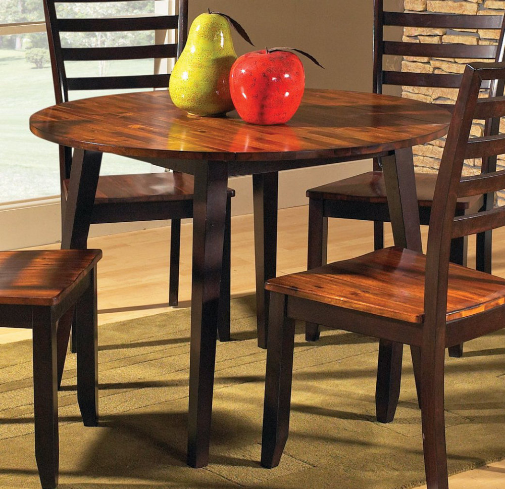 Abaco 5 Piece Double Drop Leaf 42 Inch Round Dining Room Set