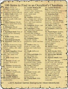 100 Items to Find in an Occultist's Chambers 100 Items to Find in an Occultist's Chambers