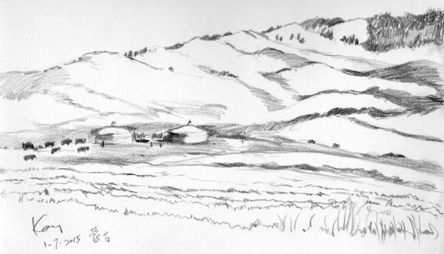 草原手绘简单图