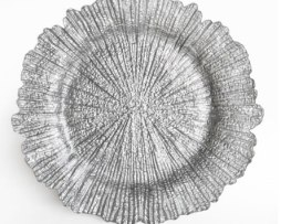 silver reef glass charger plate service plate