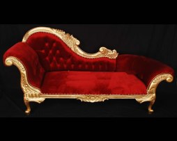 red gold chaise lounge settee sofa rental