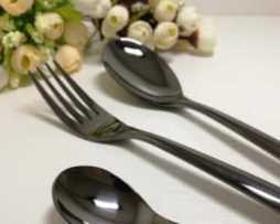 rent black dark flatware