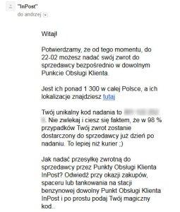 Mail informujący o możliwościach zwrotu.