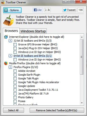 Toolbar Cleaner Toolbar Cleaner   Remove Unwanted Toolbars From firefox,Chrome & IE