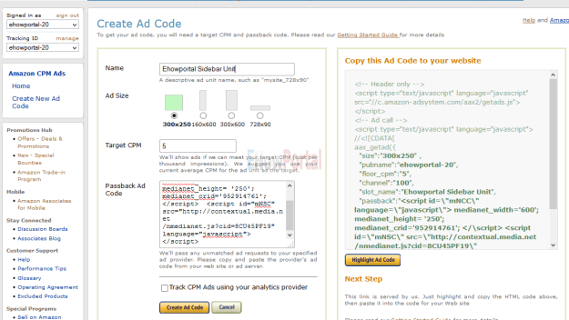 Creating new Ad unit for Amazon CPM ads