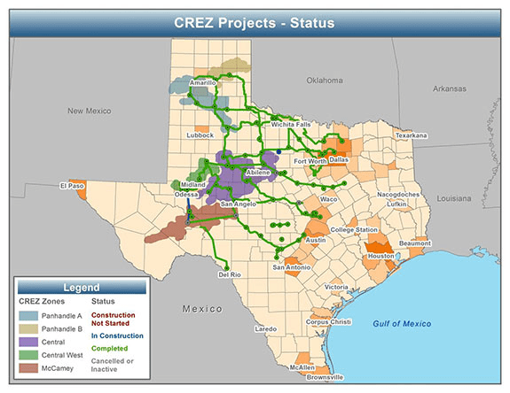 map of CREZ project status as of April 2014, as described in the article text