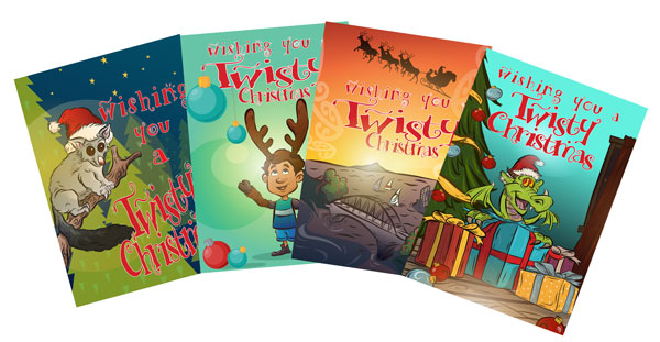 Kids will love Geoff Popham's fun Twisty Christmas cards.