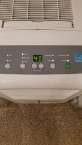 Dehumidifier to reduce interior moisture levels
