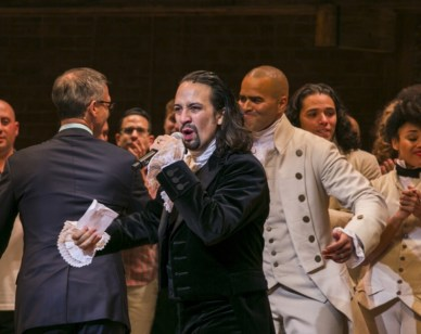 "Lin-Manuel Miranda, actor and creator of the of the play ""Hamilton,"" addresses the audience after the plays opening night on Broadway in New York"