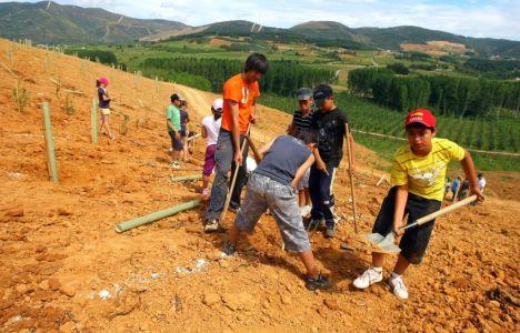 Escolares junto a Jose Luis Prada durante la plantación de árboles  Bosque Didáctico de Canedo (C. Sánchez)