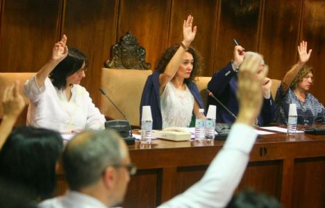 Imagen de una de las votaciones en el pleno (C.Sánchez / Ical)