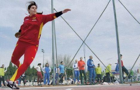 La deportista berciana, con la roja de atletismo