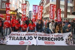 Cabecera de la manifestación del 1 de mayo en Ponferrada (C. Sánchez/Ical)