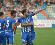 Andy celebra el segundo gol de la Deportiva. / QUINITO