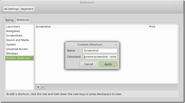 Keyboard Setting Window