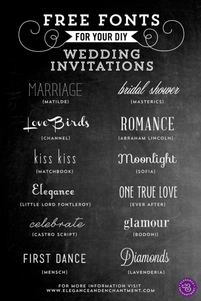 Free Fonts for DIY Wedding Invitations