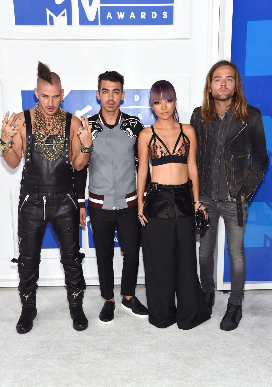 NEW YORK, NY - AUGUST 28: (L-R) Cole Whittle, Joe Jonas, JinJoo Lee, Jack Lawless of DNCE attend the 2016 MTV Video Music Awards at Madison Square Garden on August 28, 2016 in New York City. Jamie McCarthy/Getty Images/AFP