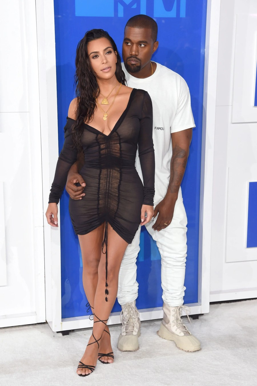 NEW YORK, NY - AUGUST 28: Kanye West and Kim Kardashian West attend the 2016 MTV Video Music Awards at Madison Square Garden on August 28, 2016 in New York City. Jamie McCarthy/Getty Images/AFP