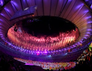 2016 Rio Olympics - Opening ceremony - Maracana - Rio de Janeiro, Brazil - 05/08/2016. Fireworks explode during the opening ceremony. REUTERS/Ruben Sprich FOR EDITORIAL USE ONLY. NOT FOR SALE FOR MARKETING OR ADVERTISING CAMPAIGNS.