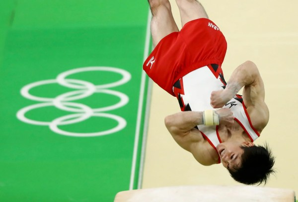 2016 Rio Olympics - Artistic Gymnastics - Preliminary - Men's Qualification - Subdivisions - Rio Olympic Arena - Rio de Janeiro, Brazil - 06/08/2016. Kohei Uchimura (JPN) of Japan competes on the vault. REUTERS/Mike Blake FOR EDITORIAL USE ONLY. NOT FOR SALE FOR MARKETING OR ADVERTISING CAMPAIGNS.