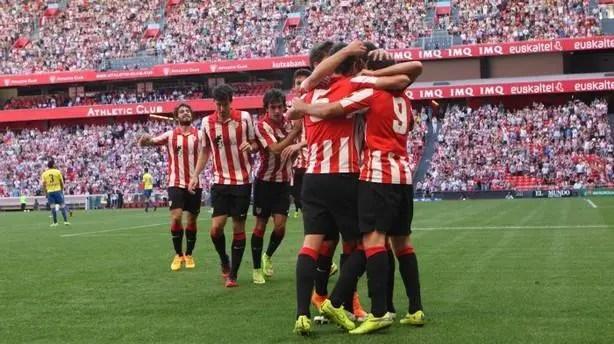 El Bilbao Athletic celebrando un gol / Agencias