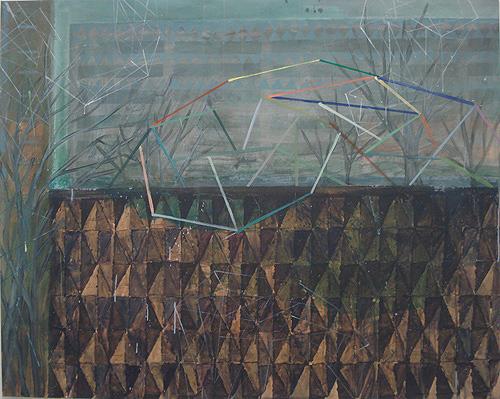 Mauer und Plattenbauten, Acryl auf Leinwand, 160 x 200 cm, 2012