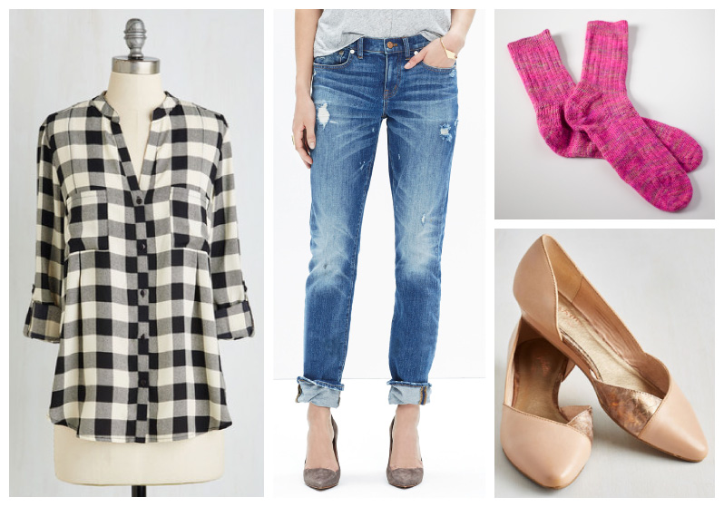 Knit Socks with Jeans Outfit Mood Board