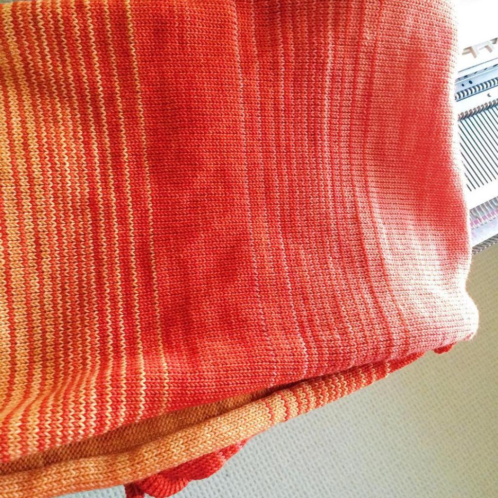Quality time with the knitting machine on this sunny afternoon