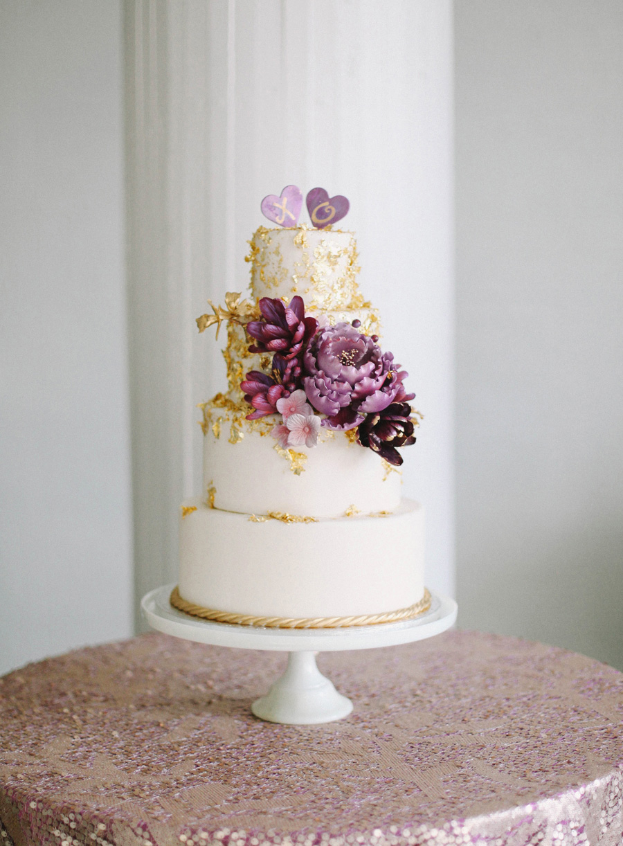 purple and gold wedding cake purple and gold wedding Purple and Gold Wedding Cake Elizabeth Anne Designs The Wedding Blog