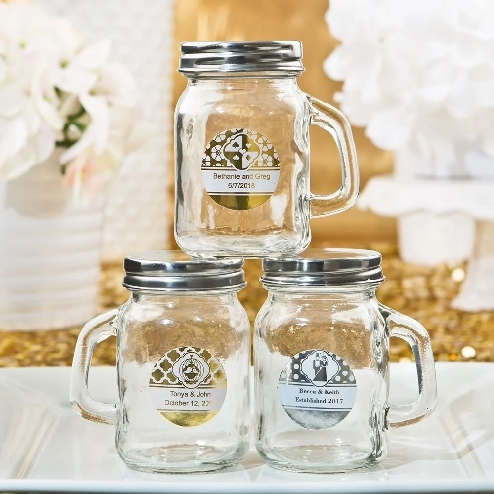 Thrifty Handle From Our Personalized Metallics Collection Personalized Mason Jars Glass Mason Jars Bridal Shower Personalized Mason Jars Birthday inspiration Personalized Mason Jars