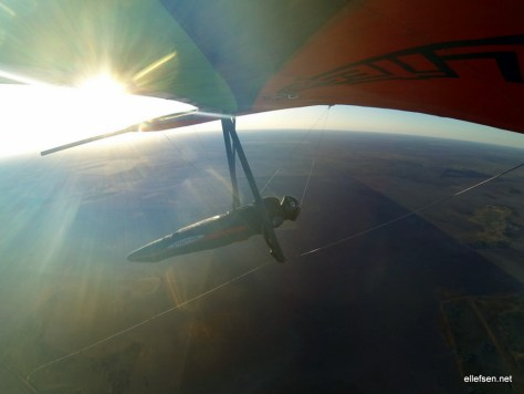On final glide over the endless Australian flatlands