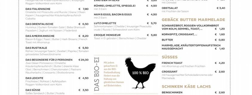 Redesign Speisekarte lutz - die bar