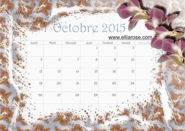 Calendrier octobre 2015 Ellia Rose Bleu clair