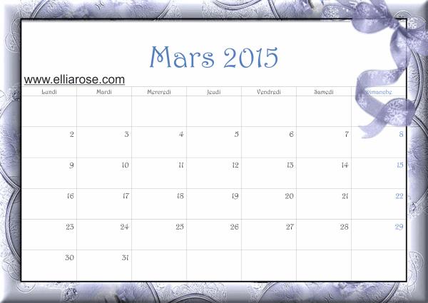 calendrier mars 2015 Bleu dentelle Ellia Rose