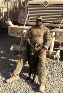 Dinomt & his handler in Afghanistan.
