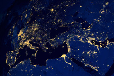 "European cities at night via NASA satellite. It is an easy ""day trip"" (or night) to London from Paris."