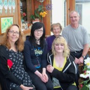 In Mums porch before leaving 2013. Left to right Alyson, Mareel,Mum and me with Shaela in front.