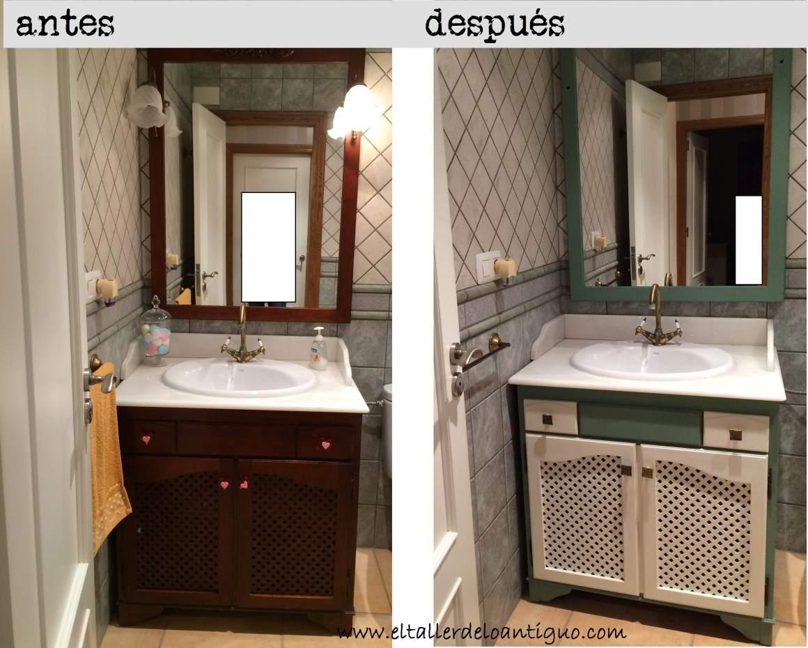 Pintar mueble de ba o el taller de lo antiguo for Muebles de mimbre pintados