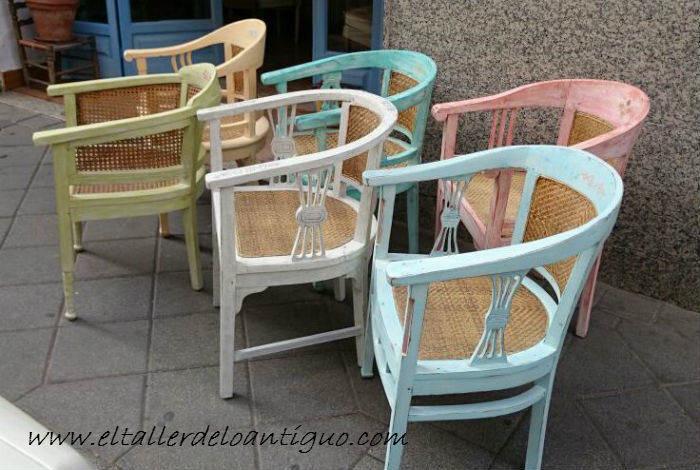 Shabby chic pintar sillones de colores el taller de lo - El taller de lo antiguo ...