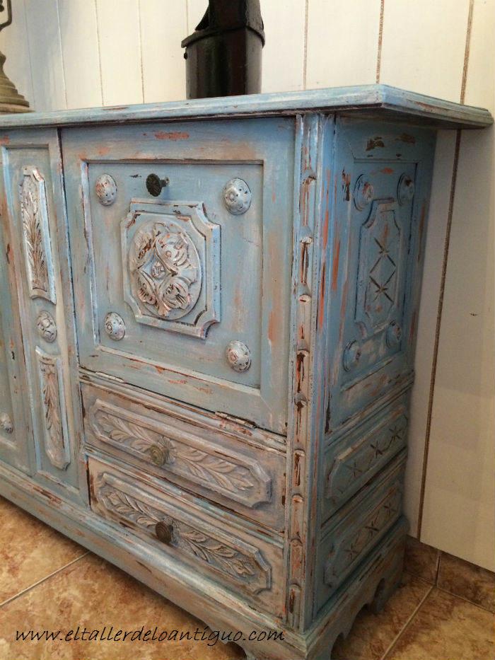 Tecnicas pintar muebles idea creativa della casa e dell - Mueble blanco decapado ...