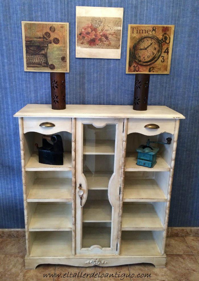 Pintar mueble r stico en blanco el taller de lo antiguo - Muebles pintados en blanco ...
