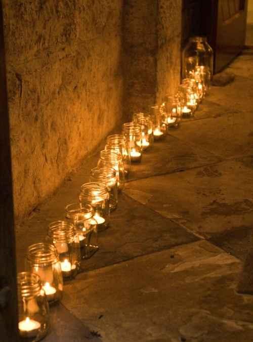 decora con velas camino