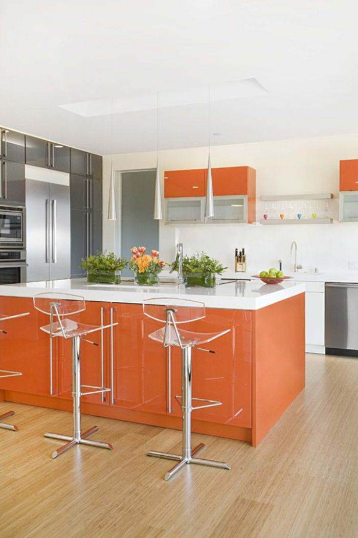 Orange paint kitchen