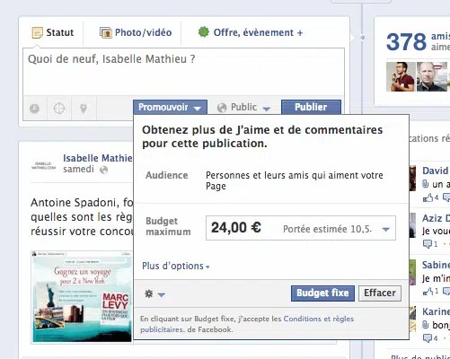 publication promue facebook