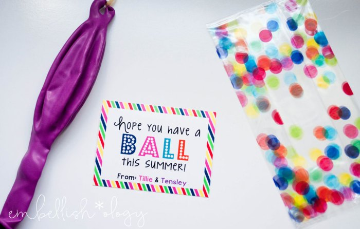 """Hope you have a ball this Summer!"" end of school gift idea with a FREE Printable!"