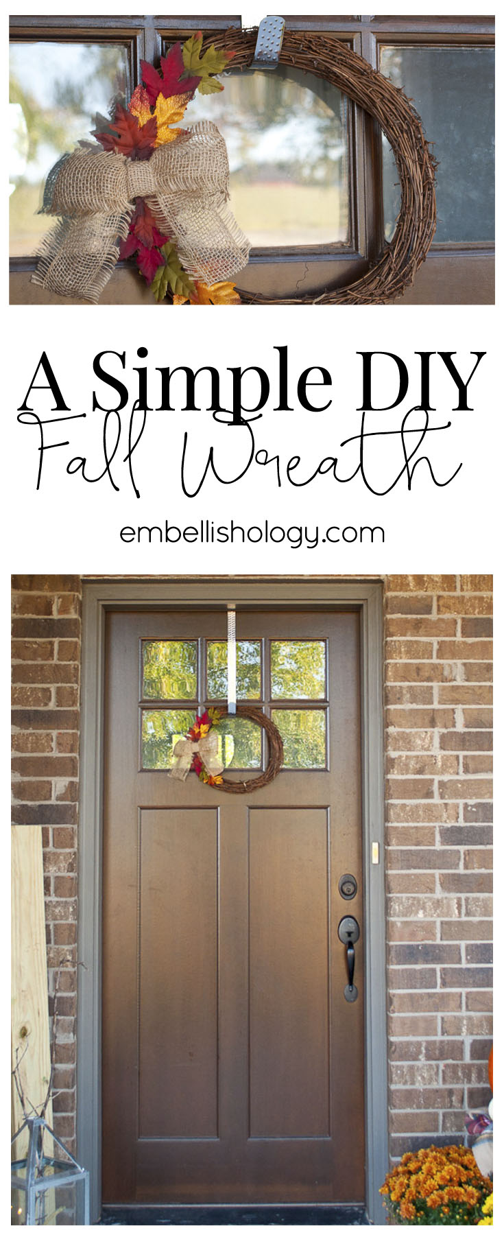 This Fall wreath is simple, cute and very budget friendly.