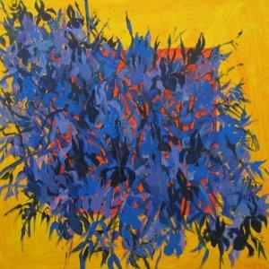 "A Bunch of Irises, Ed McCartan, acrylic on canvas, 34x34"""
