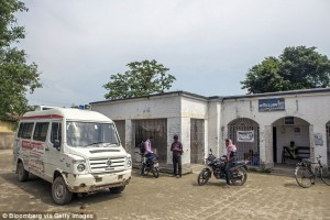 ambulance stands outside primary healthcare center_Raghopur_India