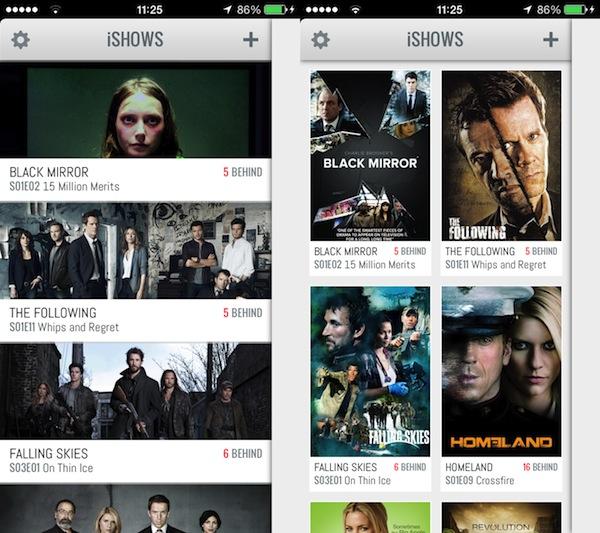 iShows - Las dos vistas del panel de series