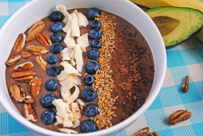 Chocolate Banana Avocado Smoothie Bowl by Emilie Eats